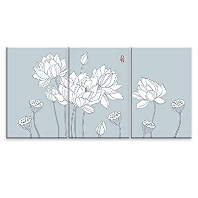 3 Panel Canvas Wall Art - Drawing of White Lotus Flowers - Giclee Print Gallery Wrap Modern Home Art Ready to Hang - 24