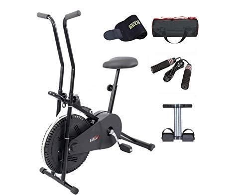 Lifeline Exercise Bike Combo (Black) with Gym Bag, Sweat Belt,...