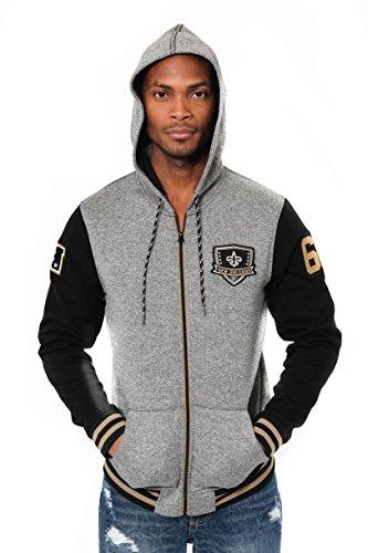 ICER Brands Adult Men Full Zip Fleece Hoodie Letterman Varsity Jacket, Team Color, Black, Large