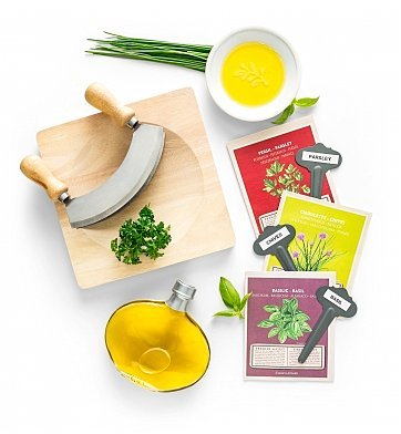 Fresh Herb Crate Gift Set for Home Chef's by GiftTree   Grow & Prepare Your Own Parsley, Chives & Basil Kit - Includes Seeds, Mezzaluna Herb Cutter, Cutting Board, Lemon Olive Oil, and more