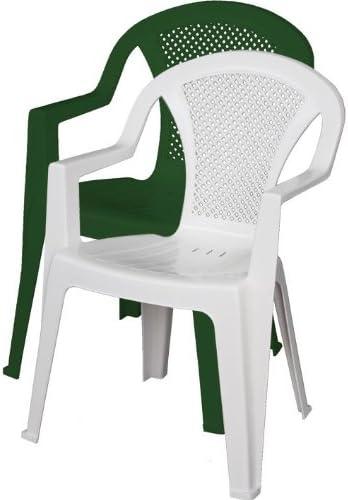 Sedie In Plastica Da Giardino Prezzi.Ischia Sedia Da Giardino In Resina Con Braccioli Impilabile Bianco