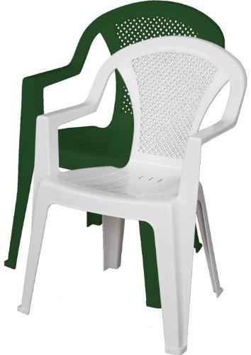 Sedie In Resina Da Esterno.Ischia Sedia Da Giardino In Resina Con Braccioli Impilabile Bianco