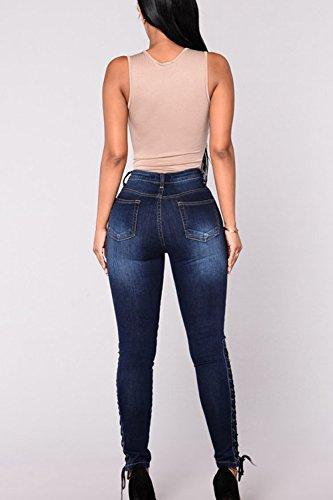 Zojuyozio Les Skinny lastique Un Bandage Jeans Haute Taille Jeans Blue Digne xprpqnwX