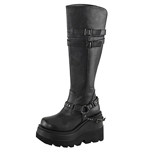 Inch 4 1/2 Boot Knee (Summitfashions Womens Black Wedge Boots Knee High Shoes Studded Straps 4 1/2 inch Platform Size: 7)
