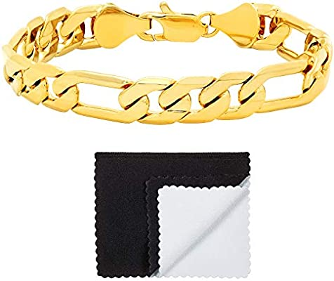 Microfiber Jewelry Polishing Cloth 4mm-9.3mm 14k Yellow Gold Plated Concave Figaro Link Bracelet