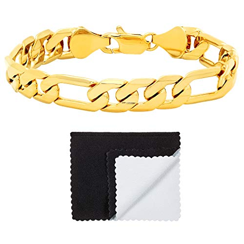 The Bling Factory 14k Yellow Gold Plated 9.3mm Flat Edged Figaro Link Chain Bracelet, 9 ()
