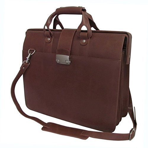 Brown Litigator Briefcase, Business Softside Type, Removable Adjustable Leather Shoulder Strap, Locking Feature, Solid Pattern, Leather Carriage Bag, Zippered Security by DSOS (Image #1)'