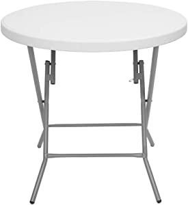 Simply-Me Patio Dining Table Outdoor Folding Table Steel Legs Round Utility Table for Home,Offices,Gardens,White