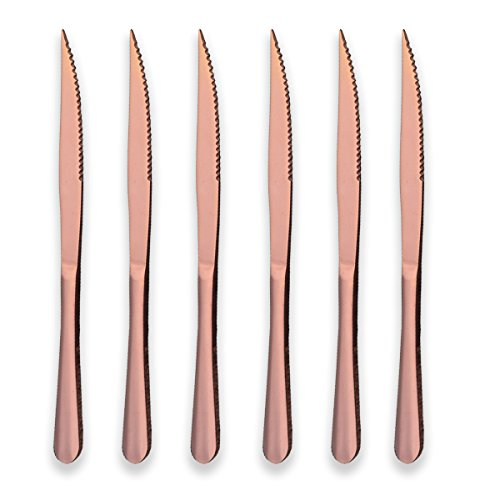 Berglander Rose Gold Plated Stainless Steel Steak Knives, Copper Color Steak Knife Heavy-Duty Steak Knife for Chefs, Great For BBQ Weddings - Dinners - Parties All Homes & Kitchens Pack of 6