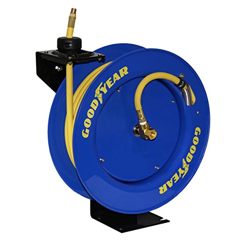 "Nice Good Year 10344 Retractable Hose Reel with Made in USA Rubber Air Hose, 50' x 3/8"" for cheap"