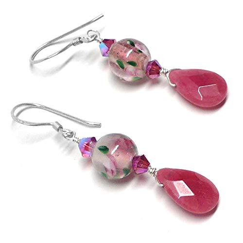 Vintage Pink Floral Glass Raspberry Fuchsia Briolette Sterling Silver Earrings