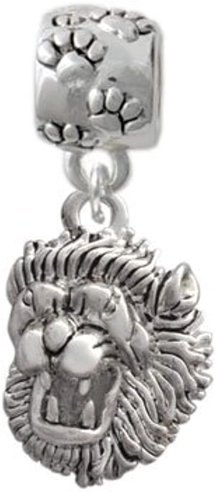 Small Green Paw Custom Year Stainless Steel Heart Bead Charm