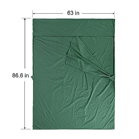 VINQLIQ 2 Person Lightweight 100% Soft Cotton Sleeping Bag Liner, Double Travel Sheet , Warm Roomy Portable, Rectangular 87