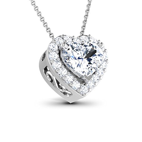 18K Or Blanc 0,59CT TW Round-cut-diamond (IJ   SI) Pendentif