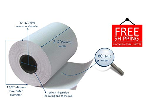 Thermal Paper, 2 1/4 x 80 fits Clover Mini and Mobile (10 rolls) ()