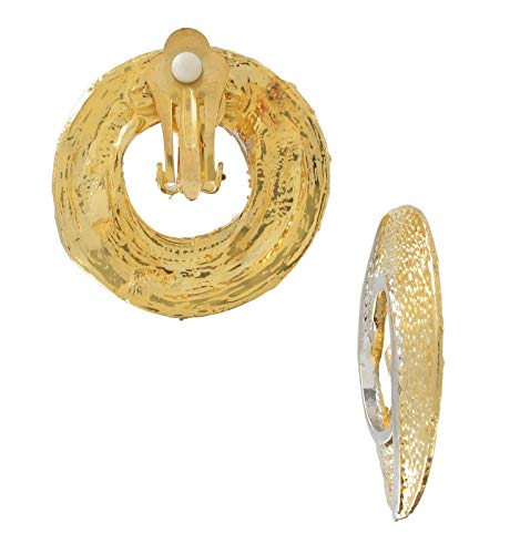 Vintage Two Tone Gold Silver Tone Abstract Swirl Circle Clip Earrings 1 3/8