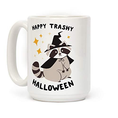 LookHUMAN Happy Trashy Halloween White 15 Ounce Ceramic Coffee Mug