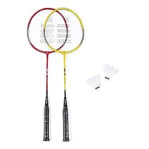 Kit Badminton Gosen Vermelha e Amarela com 2 Petecas