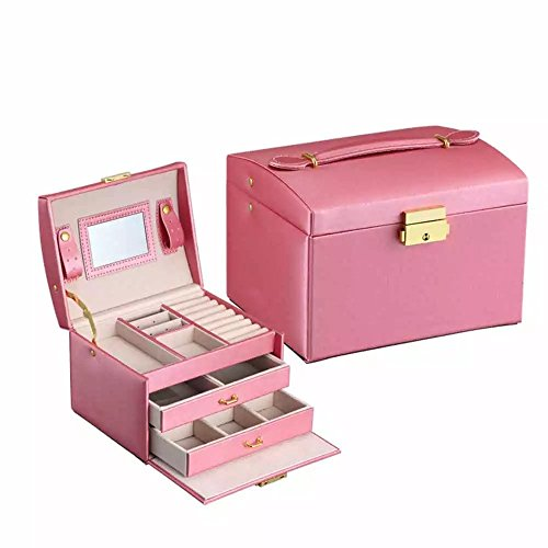 EYX Formula Fashion Three Layer Jewelry Box Lockable Jewelry Case,PU Leather Jewelry Case Makeup Storage Case with Mirror and Drawer for Organizing (Pottery Barn Factory Store)