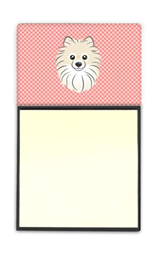 (Caroline's Treasures Checkerboard Pink Pomeranian Refillable Sticky Note Holder or Postit Note Dispenser, 3.25 by 5.5