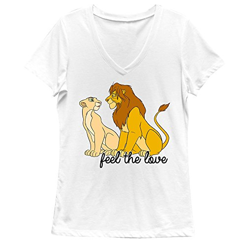 Fifth Sun Junior's Lion King Simba Nala Feel The Love Graphic V-Neck Tee, White, Medium by Fifth Sun