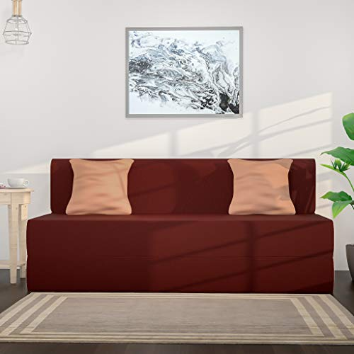 Amazon Brand – Solimo Metro Fabric 3 seater Sofa cum Bed (75*60*8 inches, Brown)