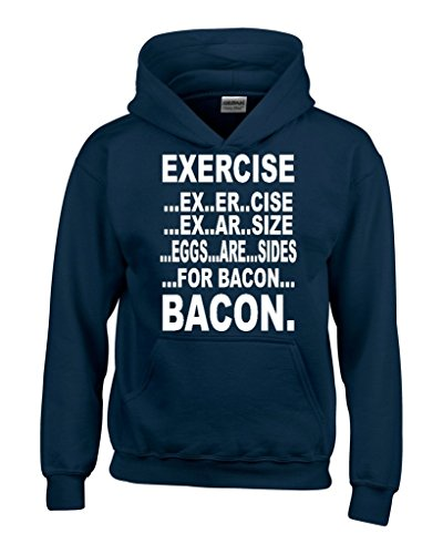 Exercise Eggs are sides for BACON Hoodie Unisex Funny Sweatshirts 3XL Navy