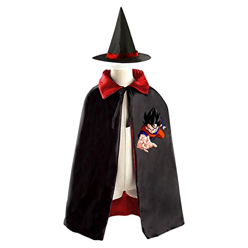 Sun Wukong Goku Halloween Party Costume Kids Cloak Wizard Witch Cape and Hat