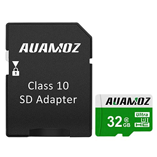 Micro SD Card 32GB, AUAMOZ Micro SDHC Class 10 UHS-I High Speed Memory Card for Phone,Tablet and PCs - with Adapter (Green/White)