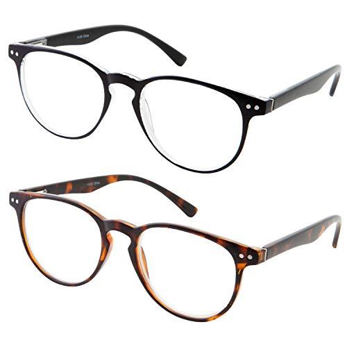 2 Pairs Computer Readers Reading Glasses Anti Reflective Anti Glare Anti Eyestrain Lens for Digital Screens and Gaming Slim Vintage Style (1 Black, 1 Tortoise, 1.00x)