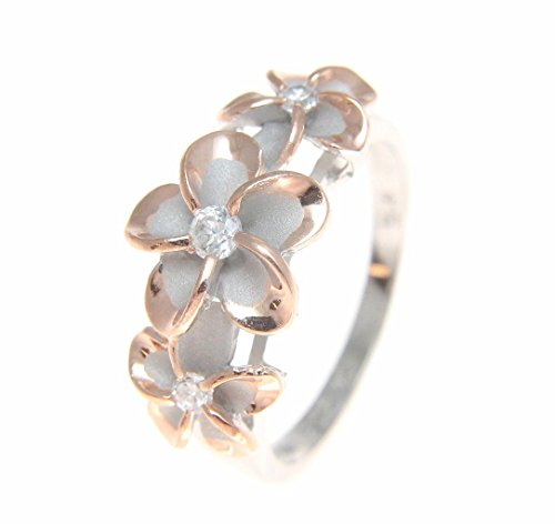 Sterling silver 925 Hawaiian 3 plumeria flower cz ring rhodium and pink rose gold plated size 7