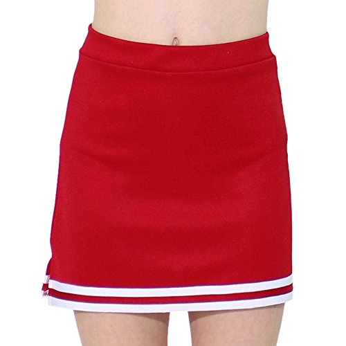 Danzcue Girls A-Line Cheerleaders Uniform Skirt, Scarlet/White, X-Small