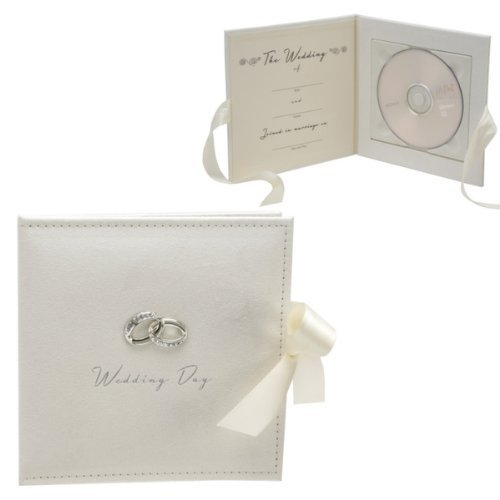 Wedding CD/DVD Holder with Metal Ring Icons by Amore