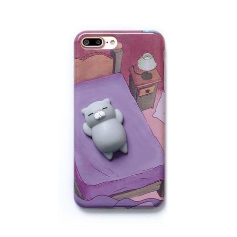 buy popular a1872 dfdb8 CHUBBY CASE - 3D Soft Cute Kawaii Squishy Case For Girl With Lazy Animal  theme for Iphone 7( Lazy Cat- Purple)