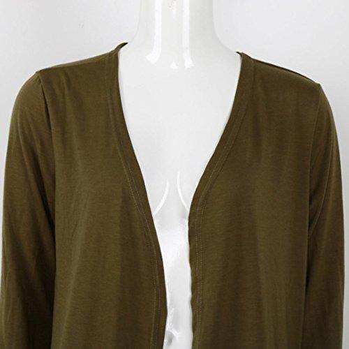Mujer chaqueta de punto OverDose chaqueta de abrigo casual de capa abierta sólida Verde