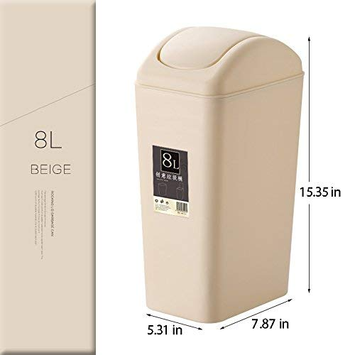 Topgalaxy.Z Mini Waste Can 8 Liter/2 Gallon Plastic Trash Can, Small Garbage Can Swing Lid, Office Waste Bins (Beige) by Topgalaxy.Z