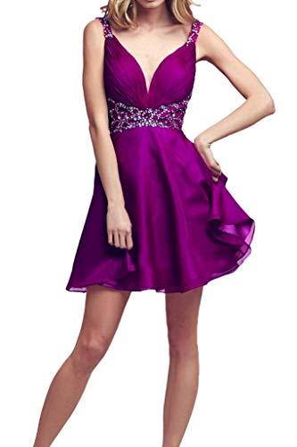 Violett Linie Partykleider mia Kurz A Tanzenkleider Cocktailkleider Ausschnitt Herrlich Braut V La Heimkehr Chiffon gxqOSwO7