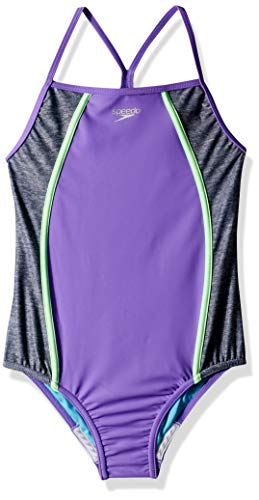Speedo Heather Thin Strap Onepiece (7-16), Lavender Purple, 8