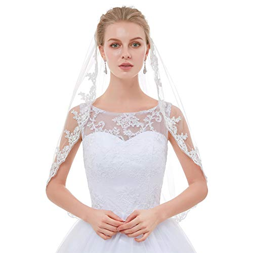 (Top End Lace Veils For Brides White Ivory Vintage Short Elbow Wedding Veils Ivory)