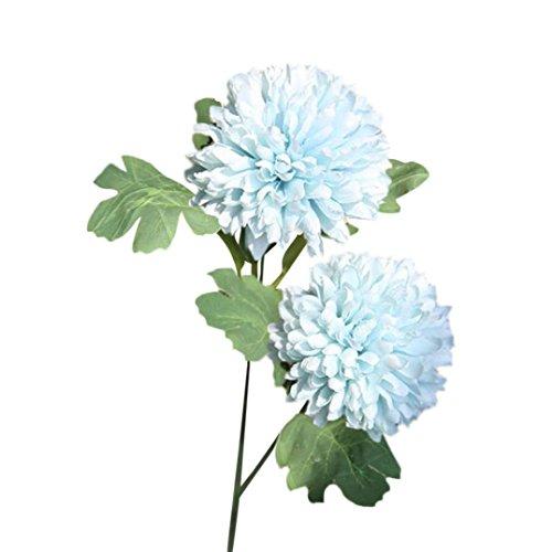 Woaills Dandelion Floral Bouquet Wedding Hydrangea Decor - Artificial Silk Fake Flowers (Blue) (Camellia Vase)