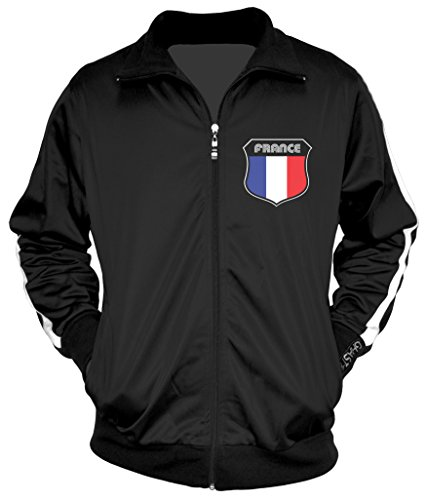 Amdesco Men's French Pride, France Track Jacket, Black w/One Stripe Large ()