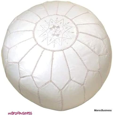 Moroccan Leather Pouf White Color