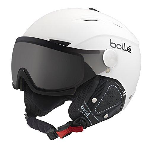 Bolle Backline Visor Premium with 1 Photochromic Silver Visor Ski Helmet, Soft White/Black, 54-56cm
