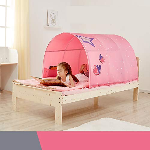 KLDYJA Children's Bed Star Theme Game Tent, Pink Butterfly Theme Girl Tunnel Bed Canopy, Accompanying Boys and Girls Bed Artifact, Little Princess Bed Game House Play House Game Wigwam