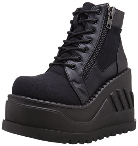 Boot Demonia Canvas Leather Black VL Women's STO10 Vegan BCA qZIwYrIx8