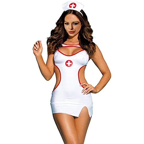 Glife Women Sexy Nurse Cosplay Costume Doctor Uniform Outfits Teddy Lingerie Set -