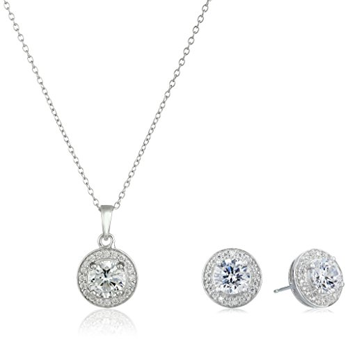 (Sterling Silver Cubic Zirconia Halo Pendant Necklace and Stud Earrings Jewelry Set)