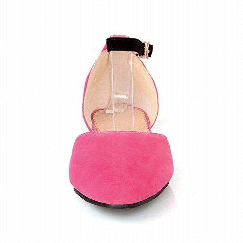 Mee Shoes Damen Knöchelriemchen Ankle strap Nubukleder Pumps Rosarot