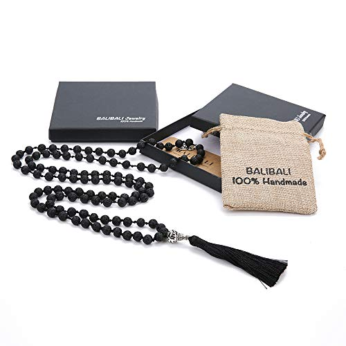 BALIBALI 108 Mala Beads Necklace Semi-Precious Gem Stones Meditation Necklace 108 Hand Knotted Japa Mala Beaded Tassel Necklace with Tree of Life Pendant (Natural Lava Stone)