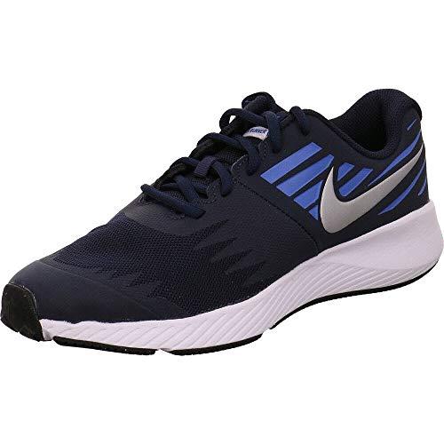 Nike Jungen Star Runner (GS) Laufschuhe, Wolf Grey, Eu Mehrfarbig (Obsidian/Metallic Silver/Signal Blue 406)
